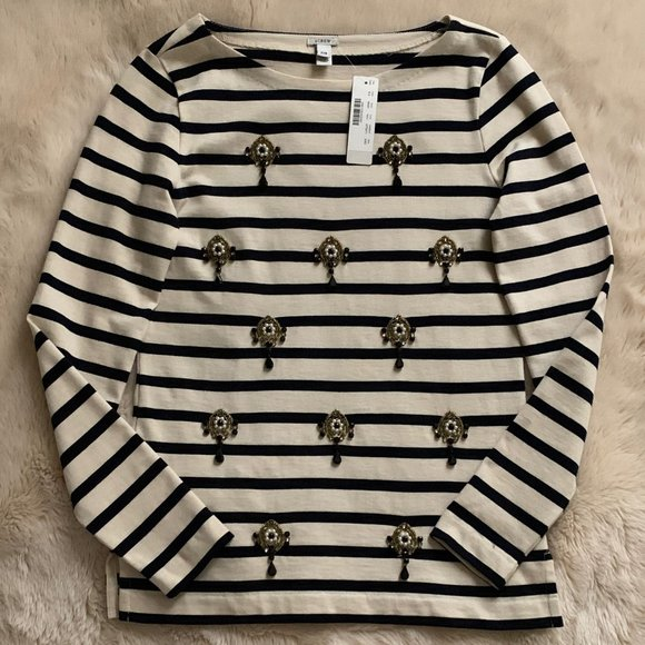J. Crew Tops - NWT J. Crew Jeweled Stripe Top Navy Beige XXS